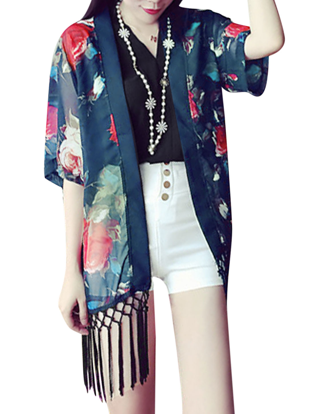 Woman Floral Prints Front Opening 3/4 Sleeves Fringed Kimono Dark Blue XS
