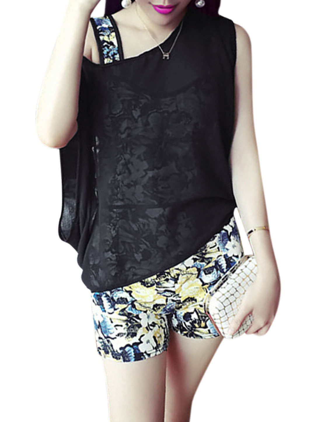 Ladies Sleeveless Crop Top Blouse w Mid Rise Floral Print Shorts Yellow Black XS