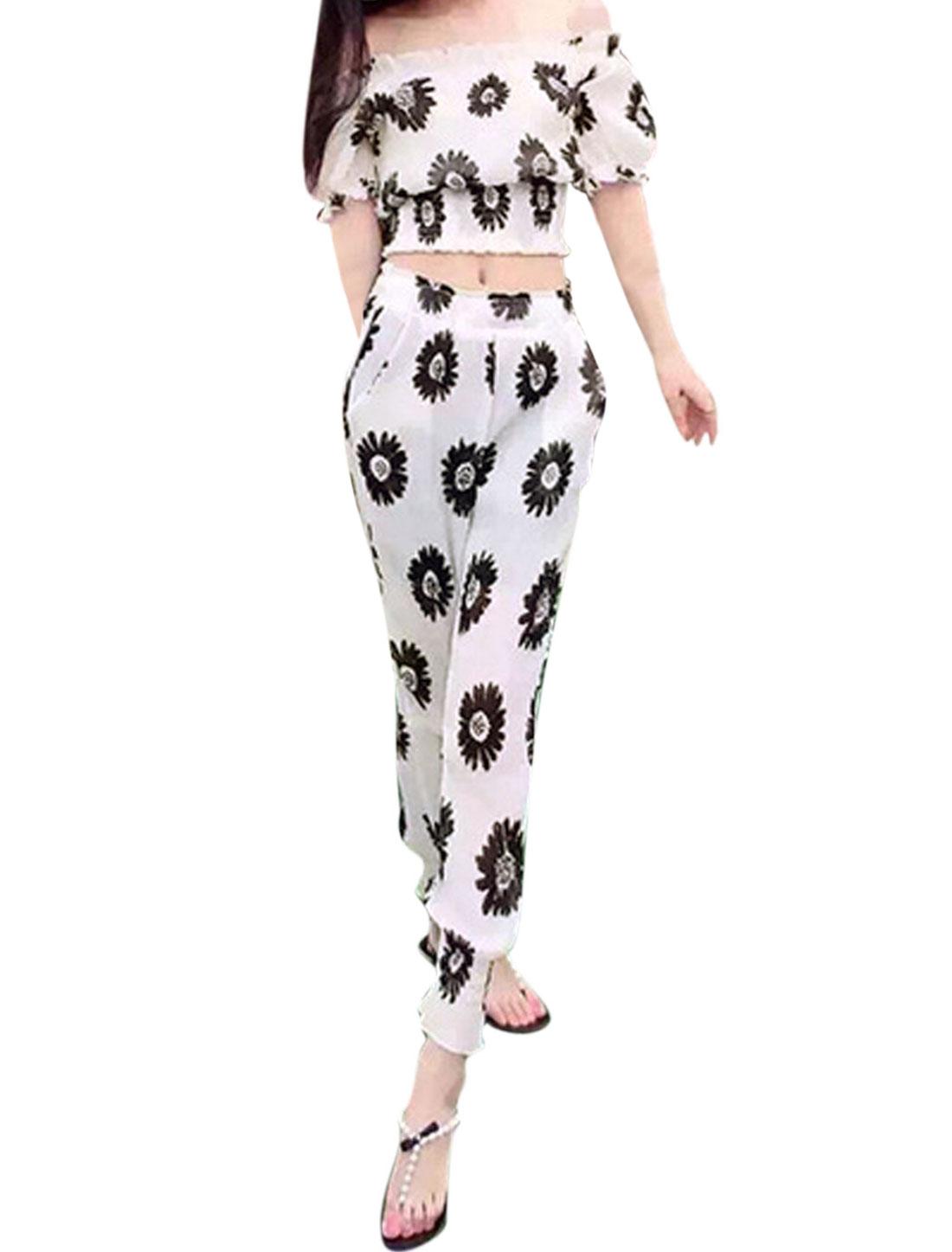 Woman Floral Prints Crop Top w Smocked Cuffs Pants Sets White XS