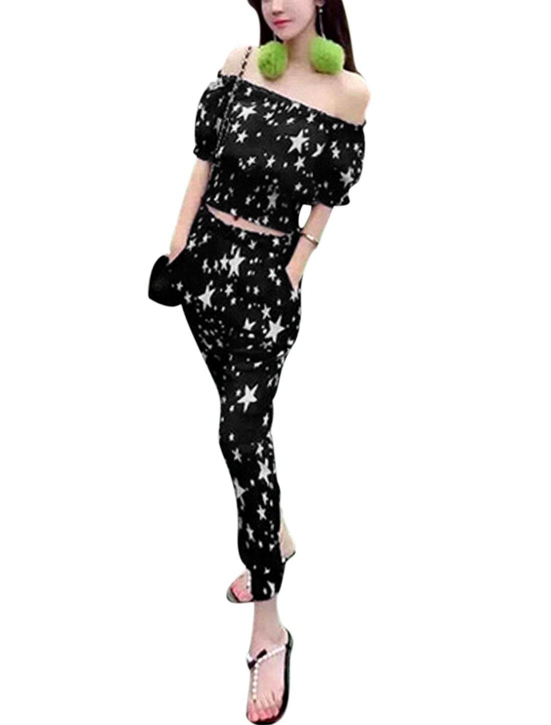 Woman Stars Pattern Off-the-Shoulder Crop Top w Smocked Cuffs Pants Sets Black XS