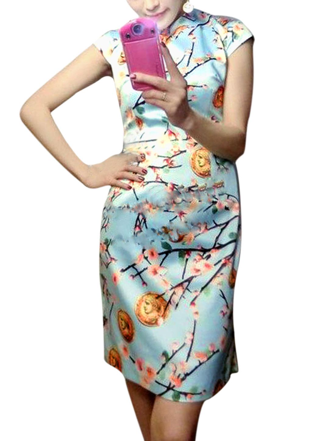 Woman Floral Prints Mandarin Collar Cap Sleeves Unlined Cheongsam Light Blue S