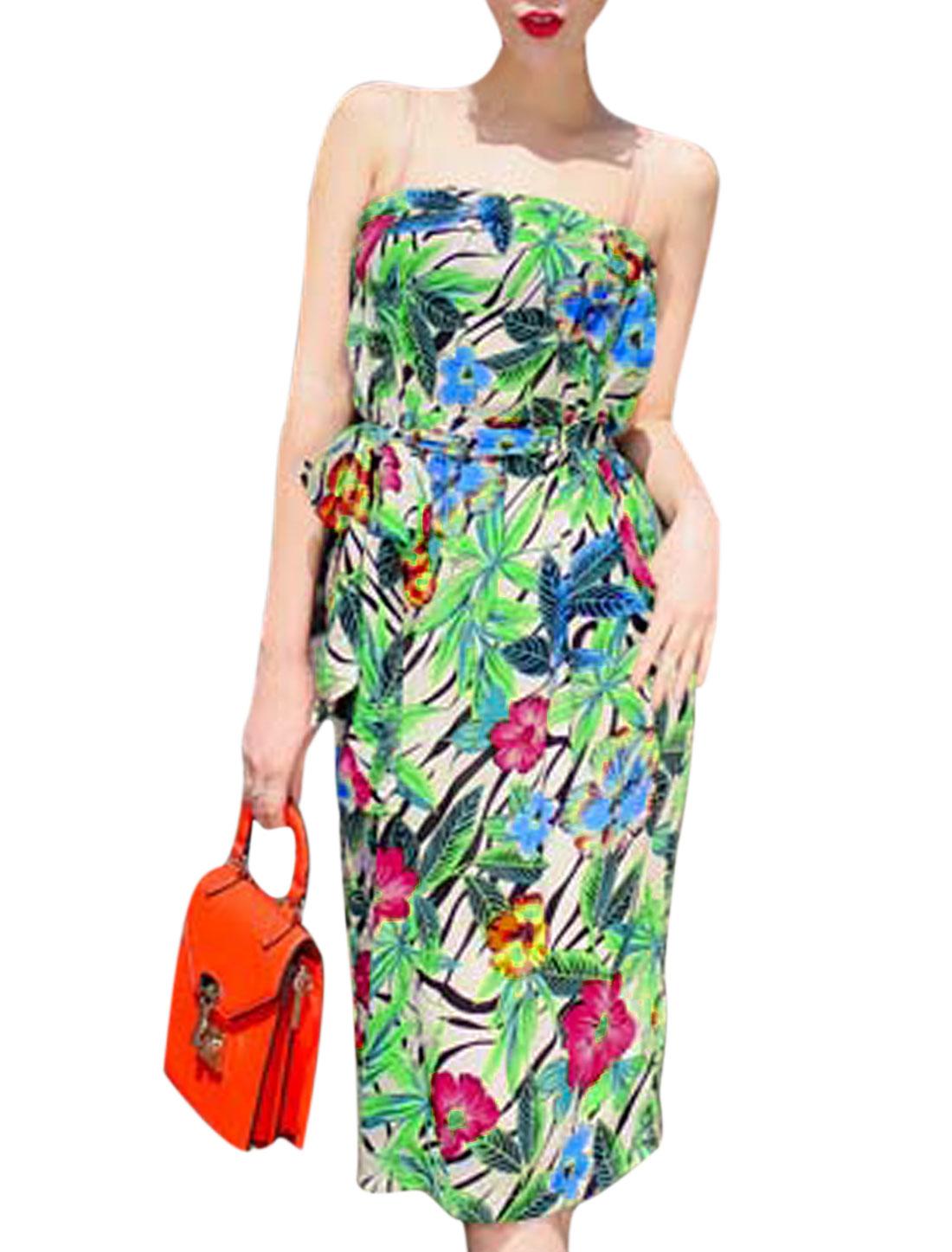 Woman Floral Prints Split Back Strapless Dress w Waist String Beige Green XS