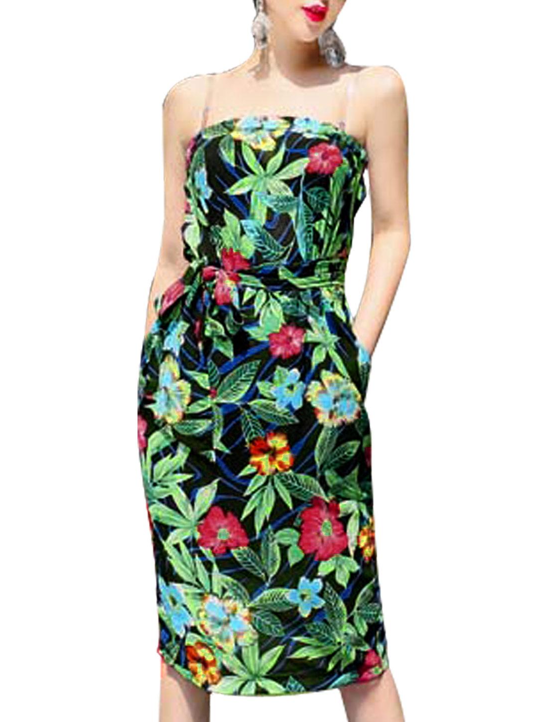 Woman Floral Prints Back Vent Strapless Dress w Waist String Black Green XS