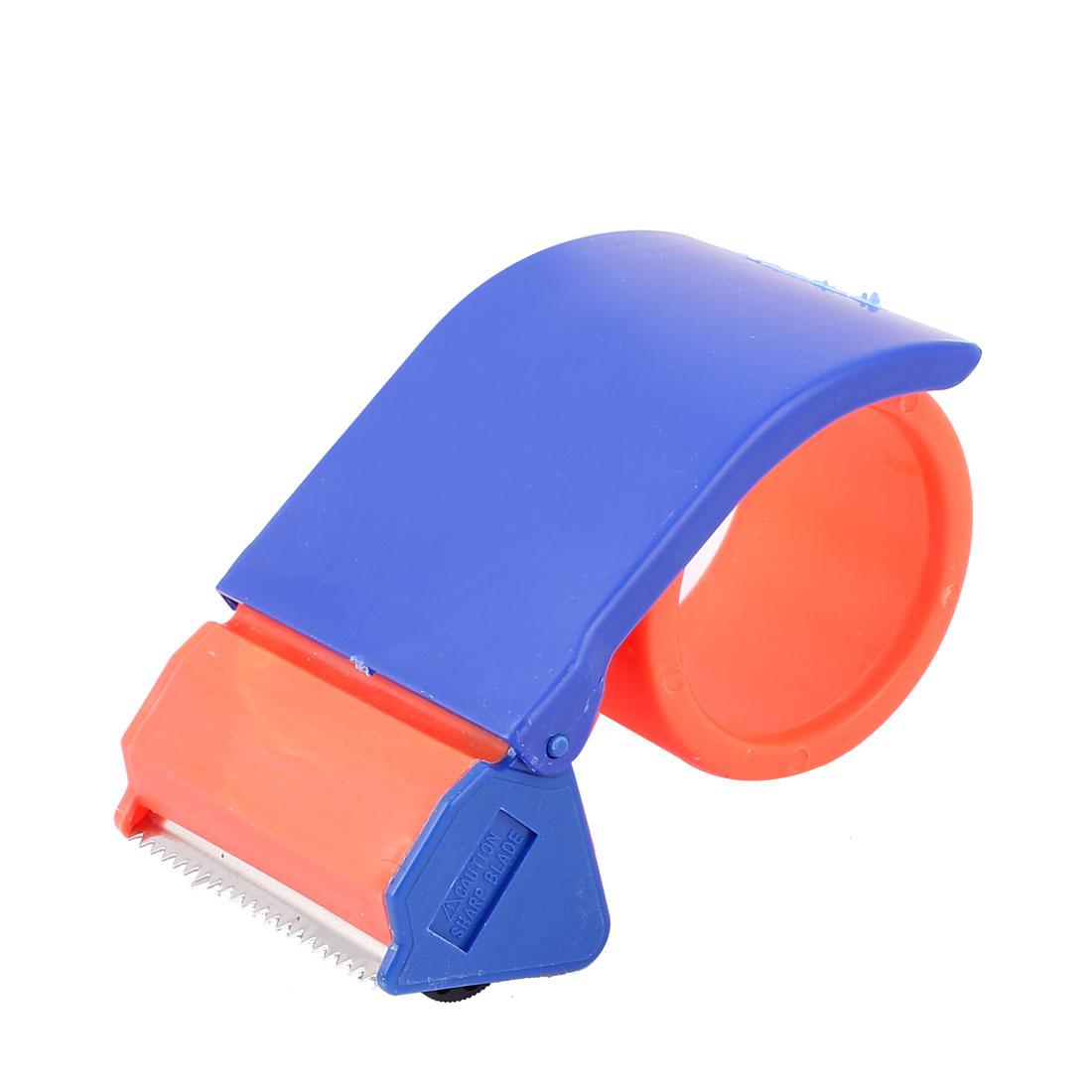 "Packing Plastic Roller 2.5"" Width Tape Cutter Dispenser Blue Orange"