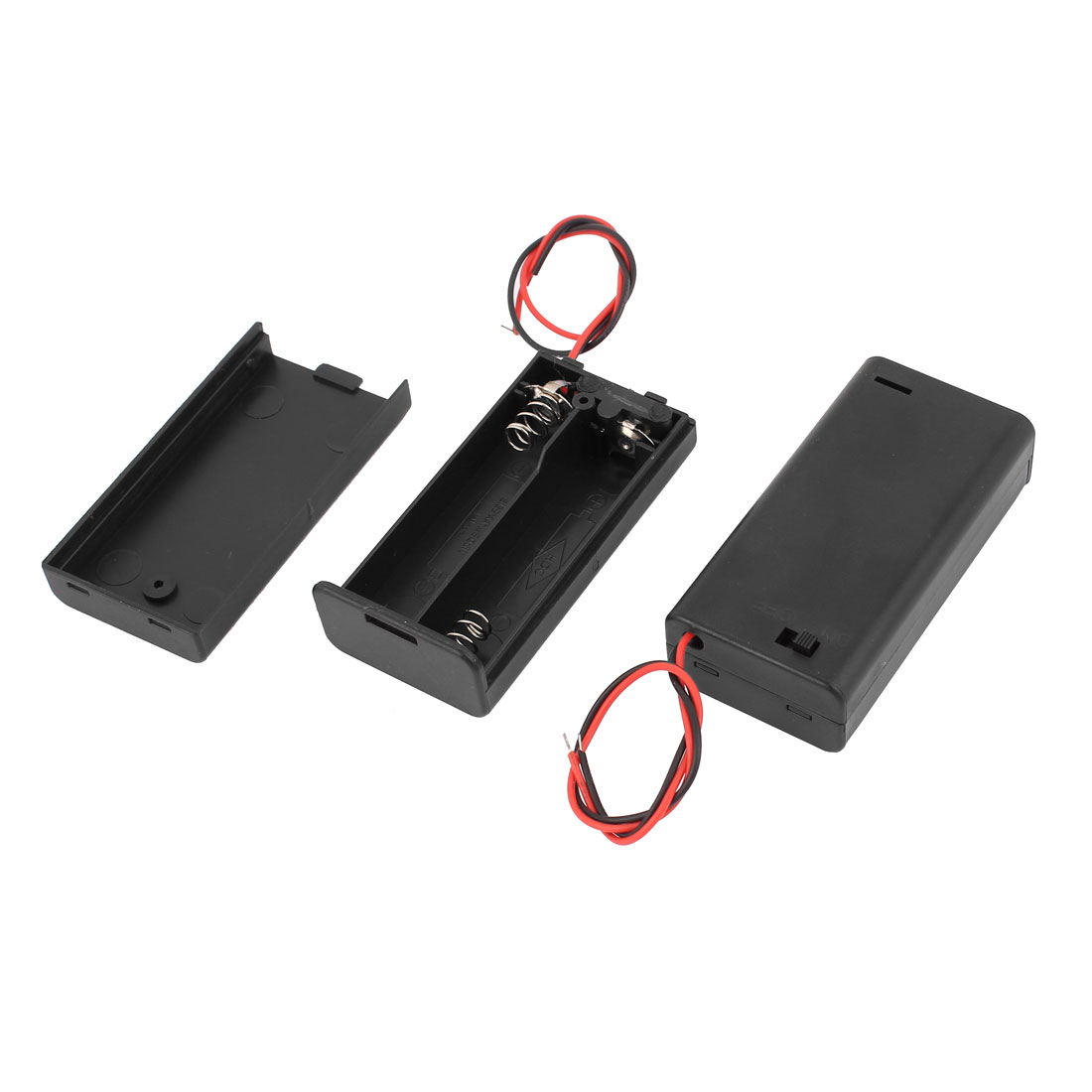 2pcs Plastic Battery Holder Case w ON/OFF Switch for 2 x 1.5V AA Batteries