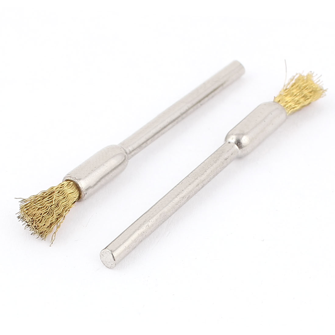 2pcs 5mm Dia Brass Wire 3mm Shank Pen Shape Polishing Brush Jewelry Tool