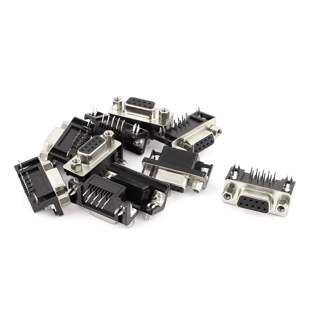 10 Pcs RS232 Serial 9pin Ports Solder Type DB9 Socket Jack Connector