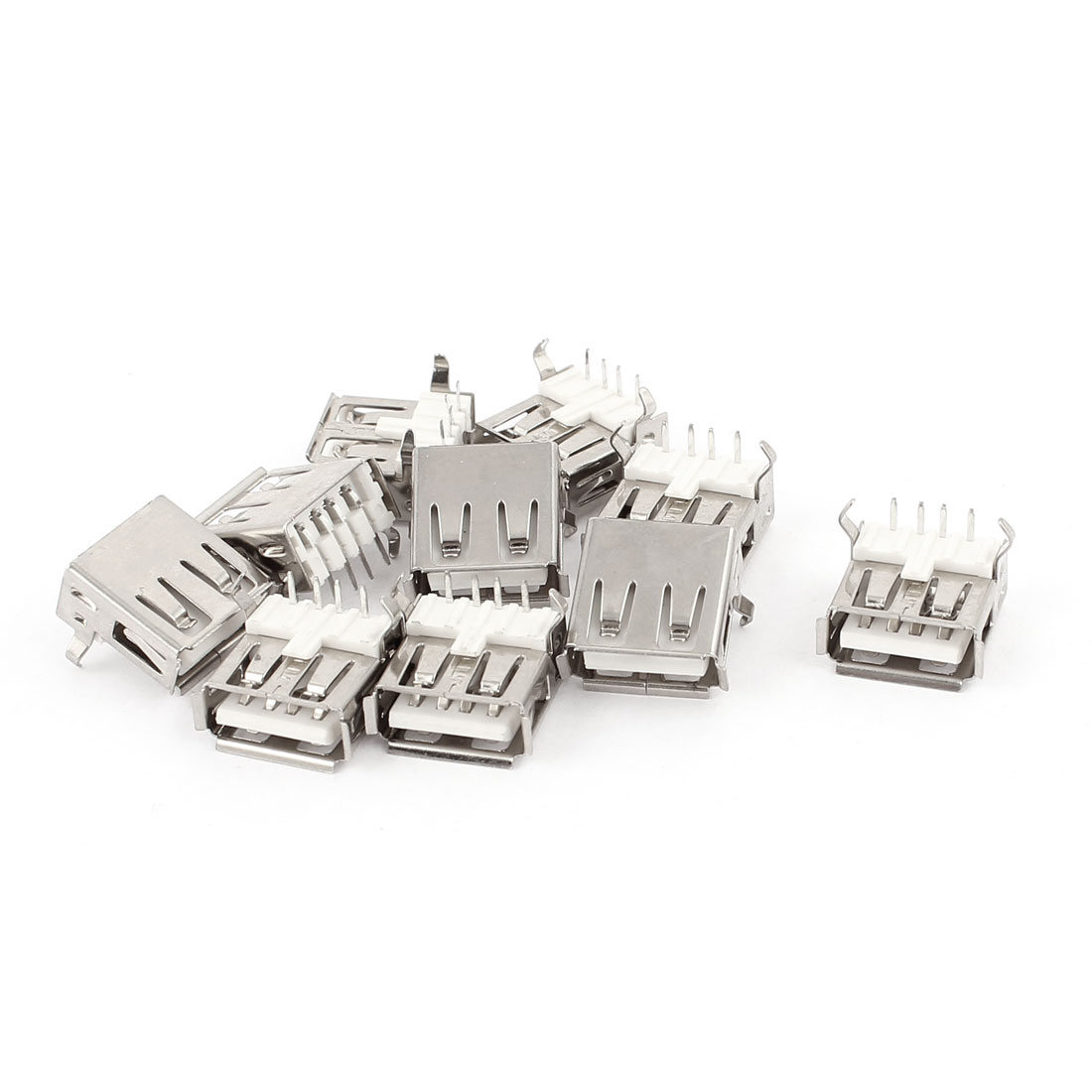 10PCS 4-Pin PCB Mount USB Type A Female Socket Jack Connector