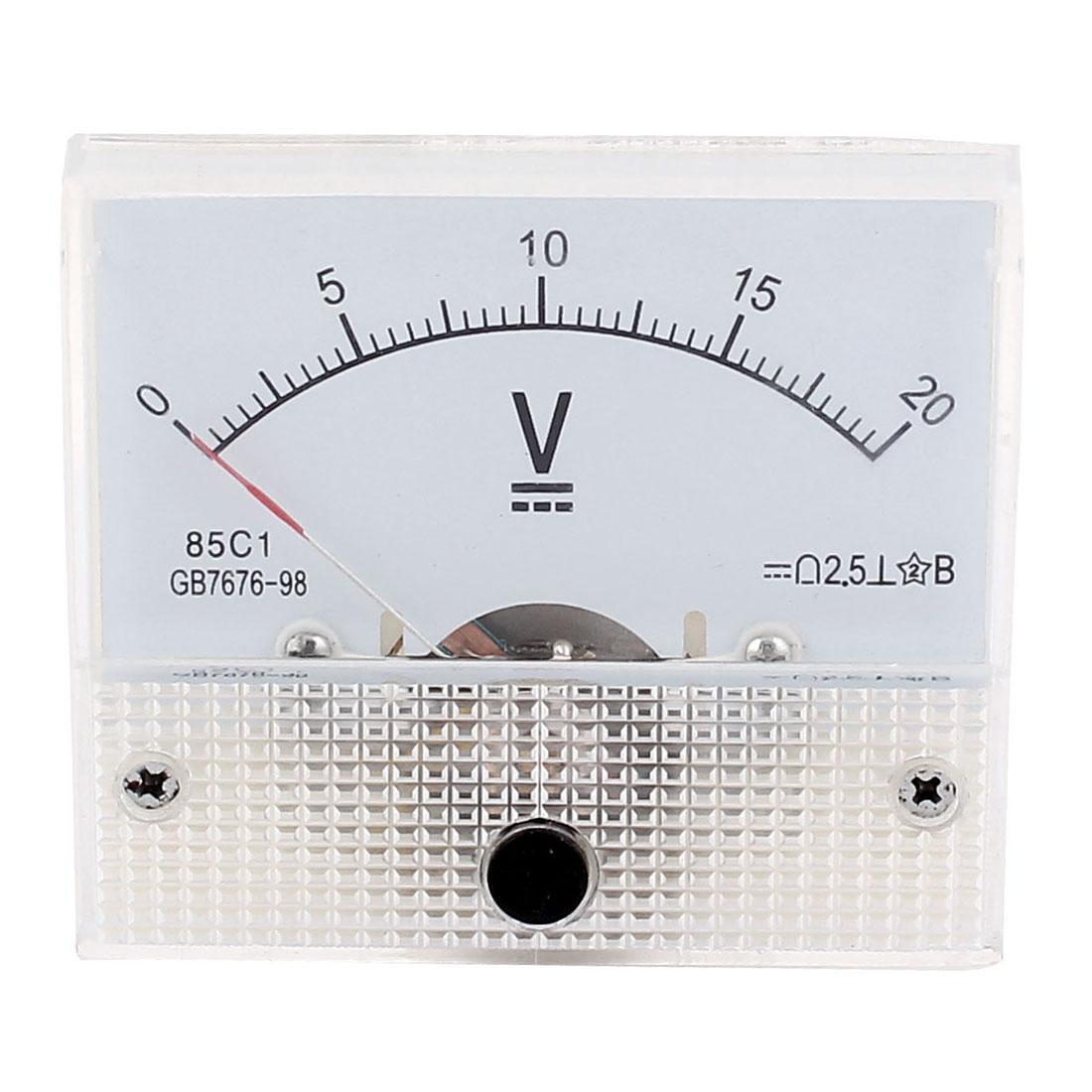 85C1 Class 2.5 Accuracy DC 0-20V Range Analog Voltmeter Volt Meter White