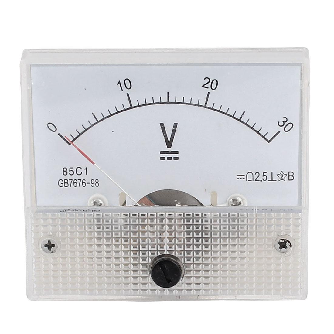 85C1 Class 2.5 Accuracy DC 0-30V Range Analog Voltmeter Volt Meter White