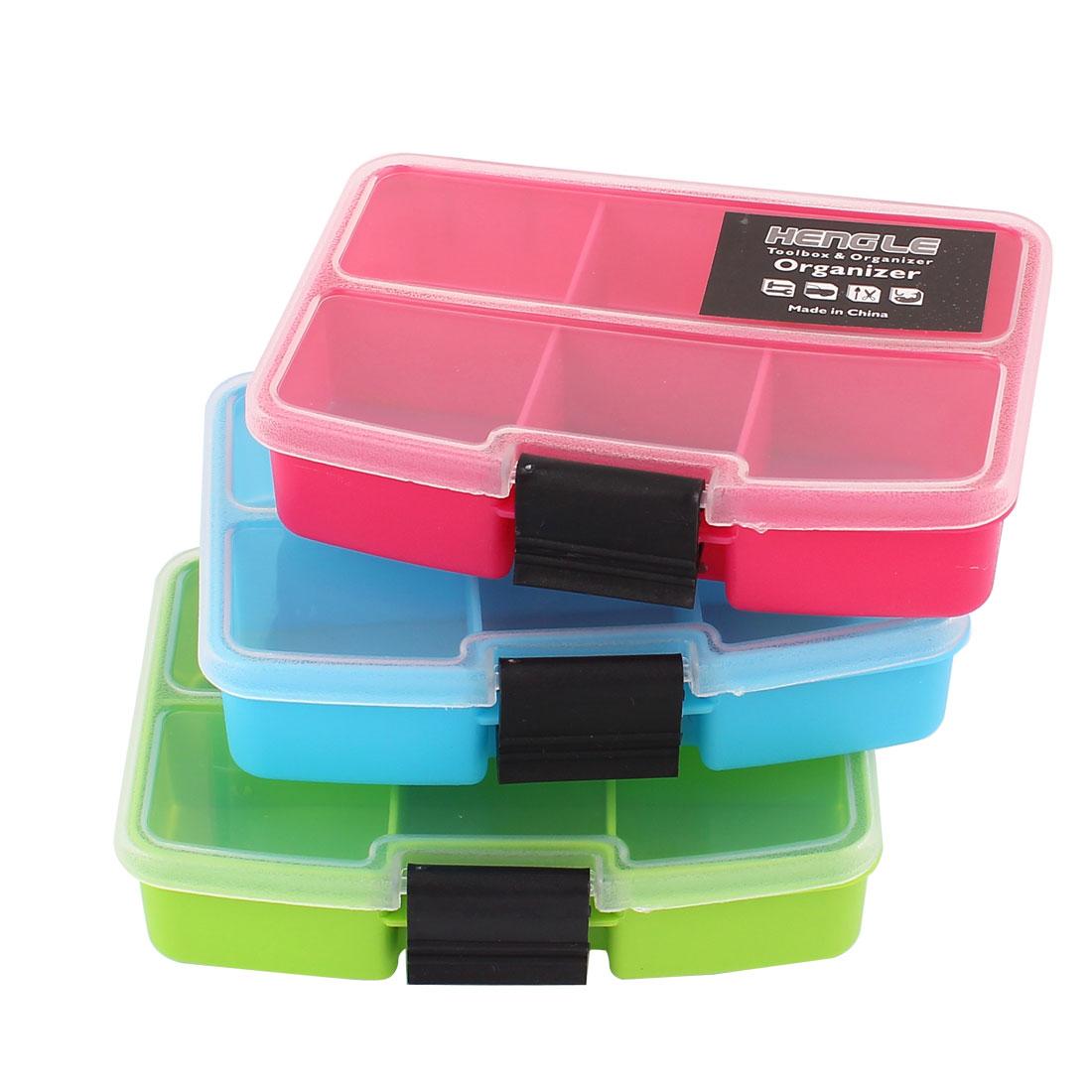 Tri Color Fishing Tool Container Organizer Storage Box Case 6 Compartments 3pcs