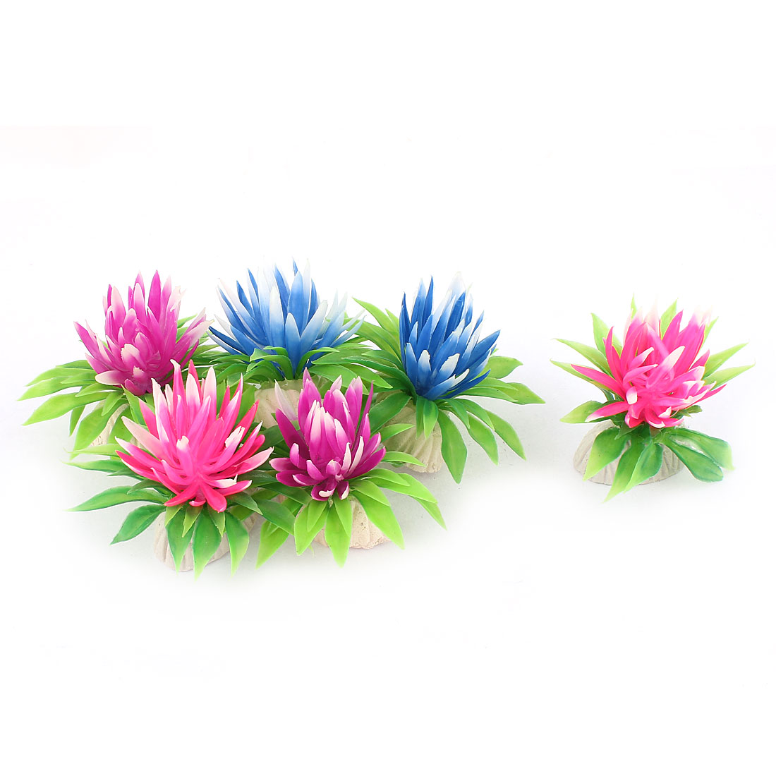 6pcs Artificial Underwater Aquarium Flower Plants Fish Tank Decor Assorted Color