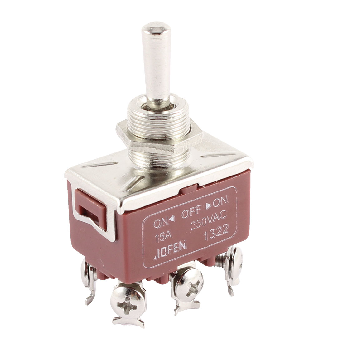 AC 250V 15A 6 Screw Terminals ON-OFF-ON Control 12mm Panel Mount DPDT Latching Toggle Switch