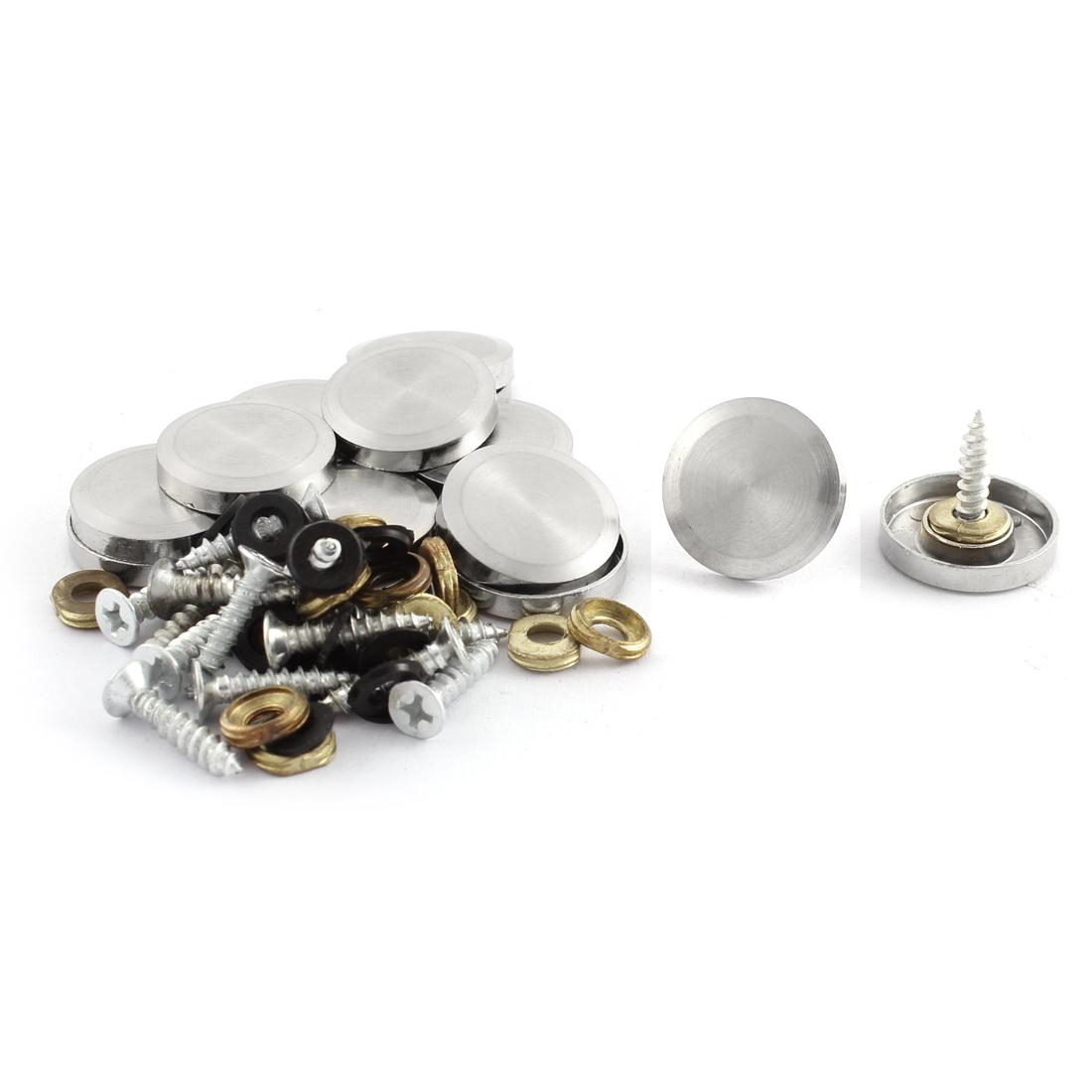 Wardrobe 21mm Diameter Round Cap Decorative Glass Table Mirror Screw Nails 16 Pcs