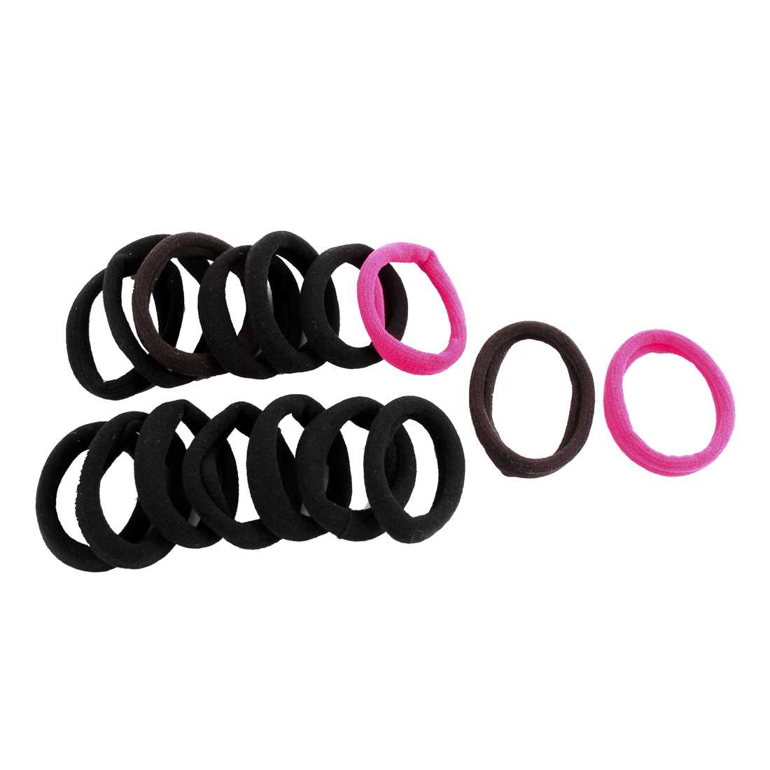 16 Pcs Tri Color Elastic Rubber Hair Bands Ponytail Holders for Ladies Women