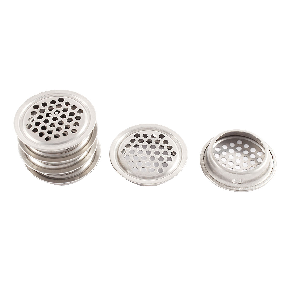 Metal 3.4cm Bottom Dia Perforated Round Mesh Air Vents Ventilation Louvers 6 Pcs