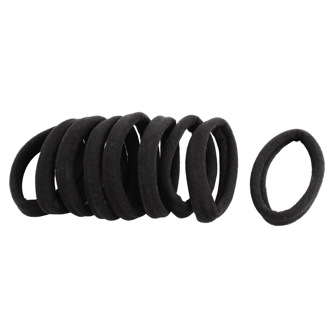 Rubber Hair Bands Elastic Ponytail Holders Black 10 Pcs for Ladies Women