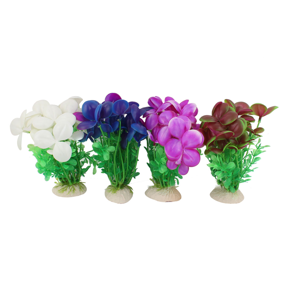 4pcs Aquarium Decor Fish Tank Artificial Grass Plants Ornaments
