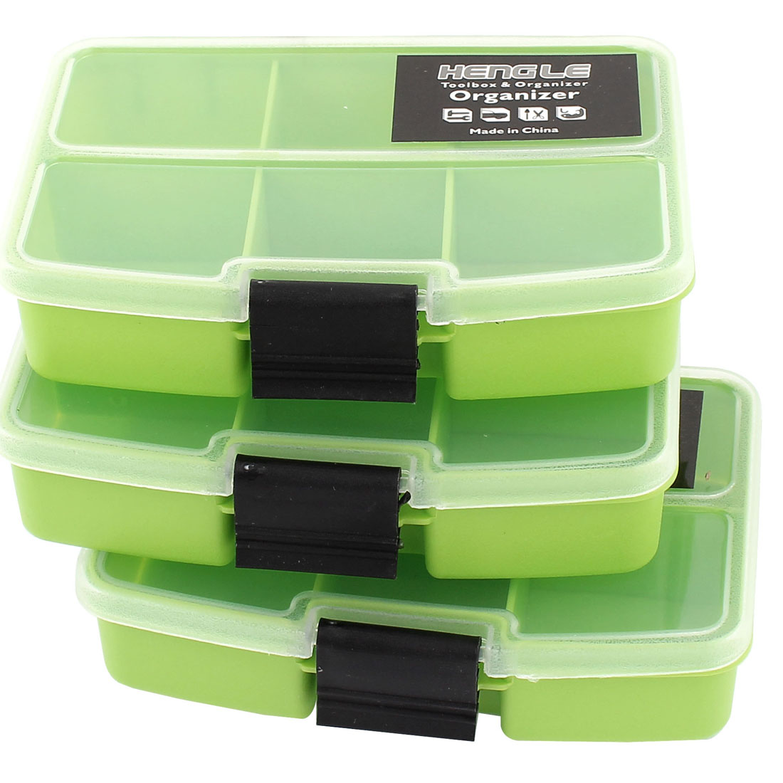 Green Crafts Jewellery Holder Organizer Storage Box Case 6 Compartments 3 Pcs