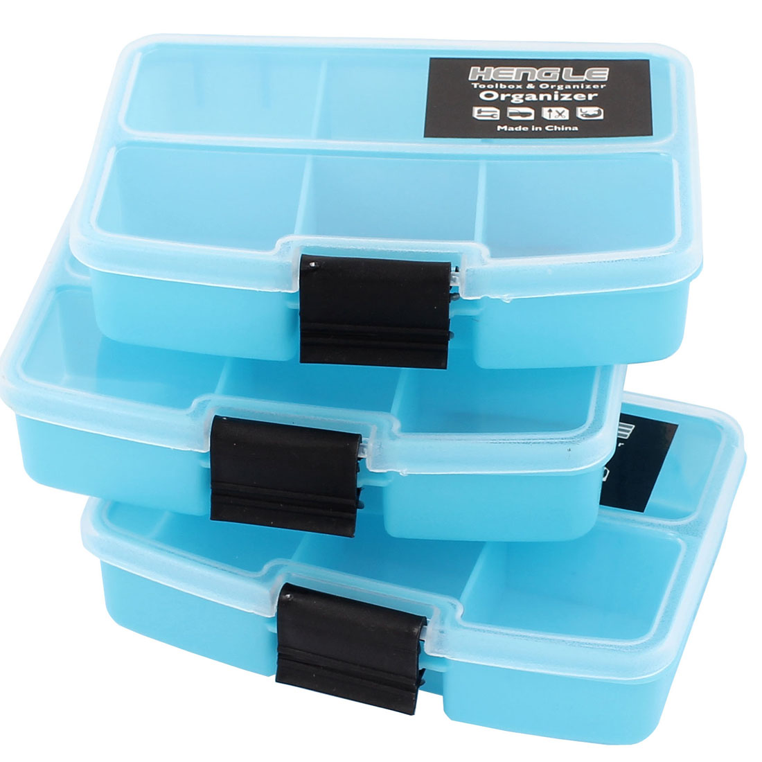 Blue Crafts Jewellery Holder Organizer Storage Box Case 6 Compartments 3 Pcs