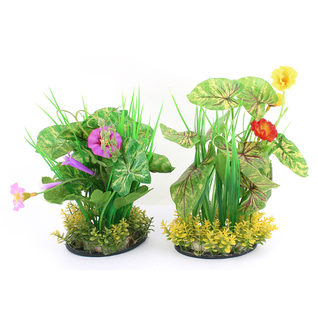 2pcs Fish Tank Flower Plants Decor Aquarium Ornament Green Yellow