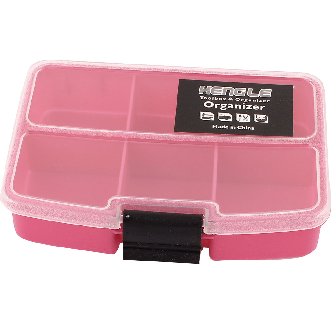 Fishing Tool Crafts Container Organizer Storage Box 6 Compartments Fuchsia