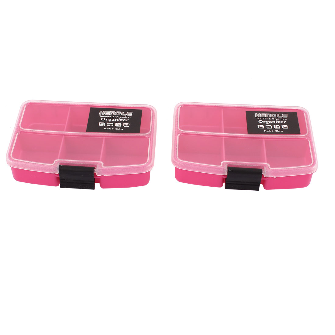 Fishing Tool Jewellery Container Organizer Storage Box Case 6 Slots 2pcs Fuchsia