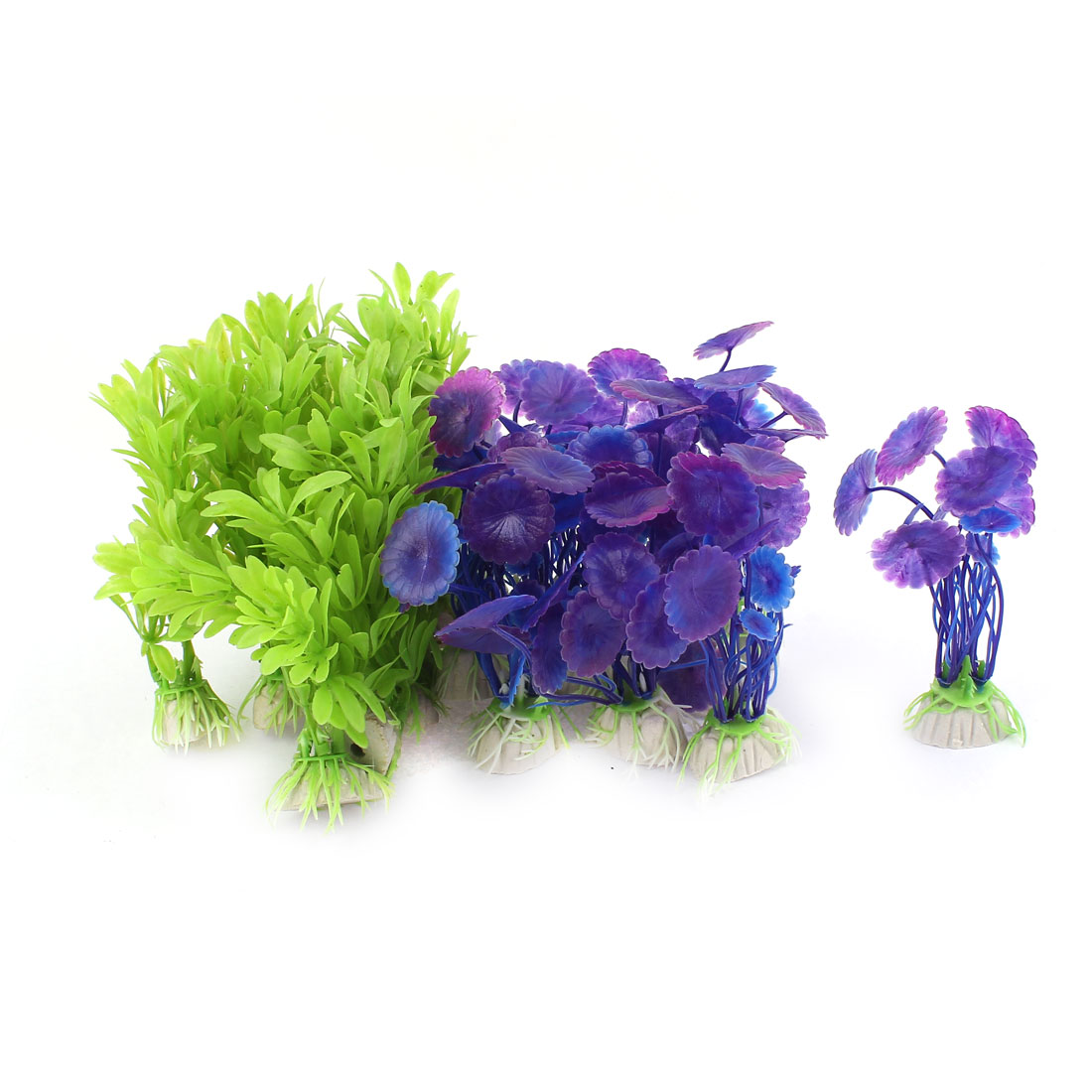20pcs Aquarium Flower Plants Decor Fish Tank Ornaments Purple Green