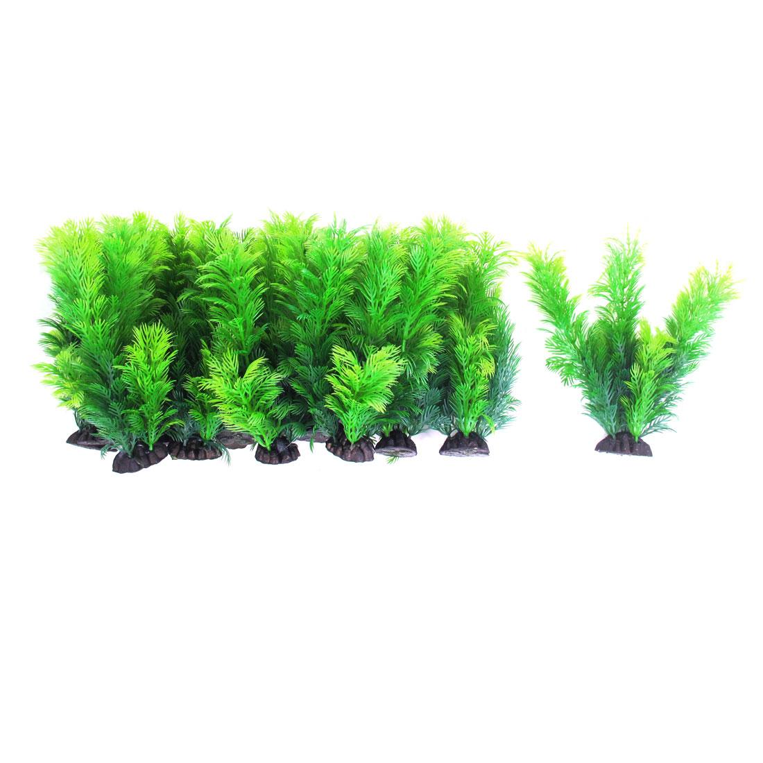 Aquarium Plastic Artificial Water Grass Plant Ornament 18cm Height 12pcs Green