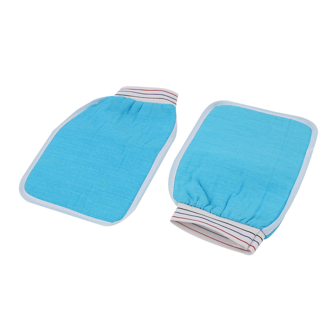 Elastic Cuff Double Side Shower Bath Wash Massage Glove Scrubber Blue 2pcs