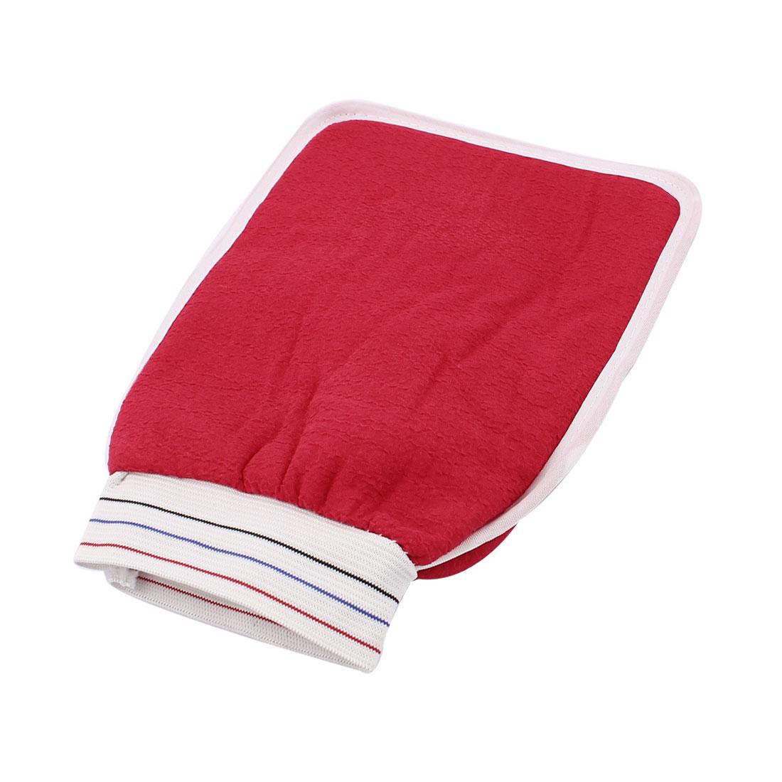 Elastic Cuff Double Side Shower Bath Washing Massage Glove Scrubber Red