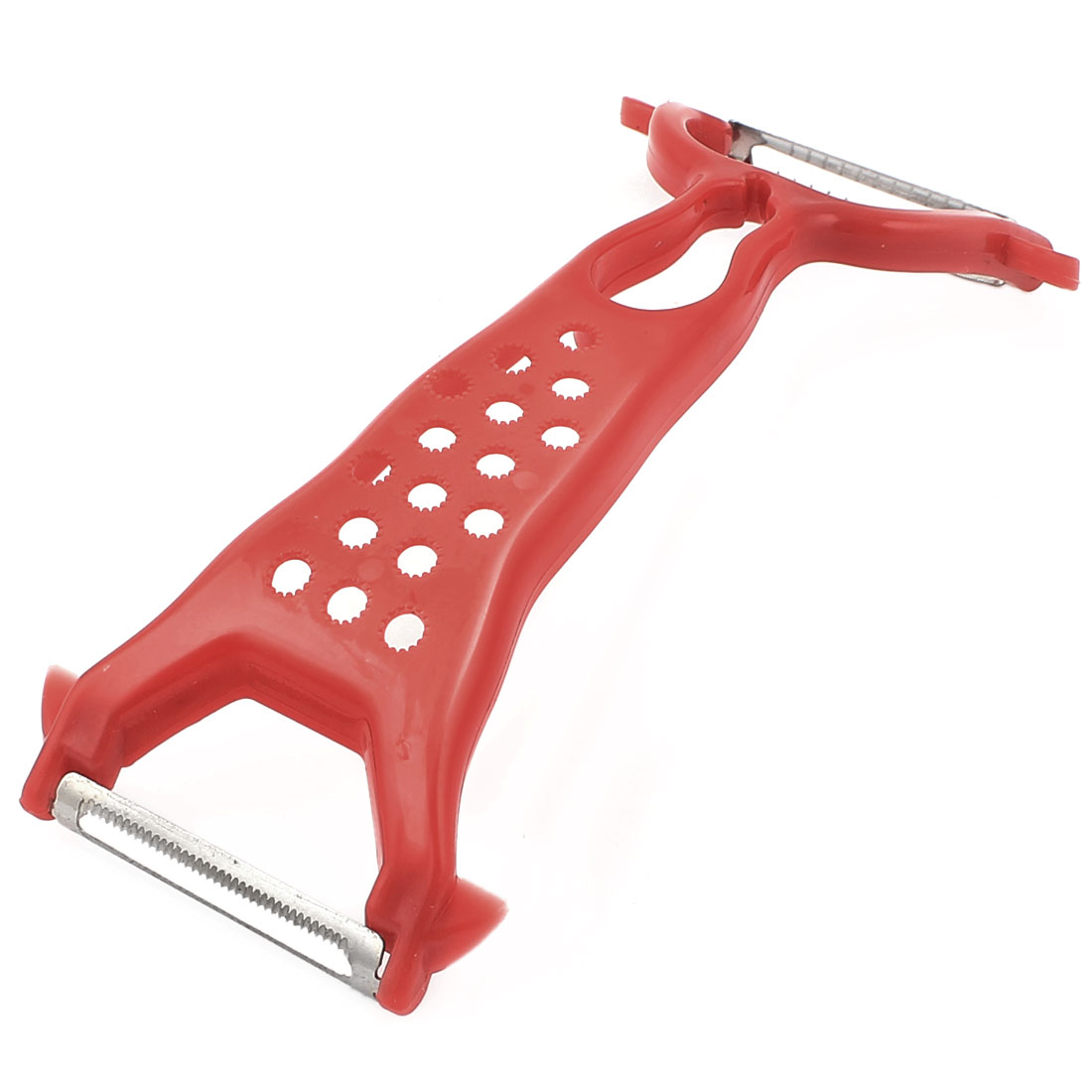 Arched Red Plastic Grip Double End Carrot Vegetable Fruit Slicer Peeler Shredder