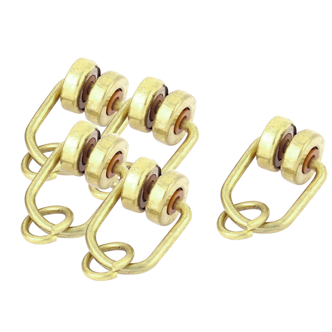 Bronze Tone Brass 11mm Dia Wheel Curtain Track Rail Runners Hanging Gliders 5pcs