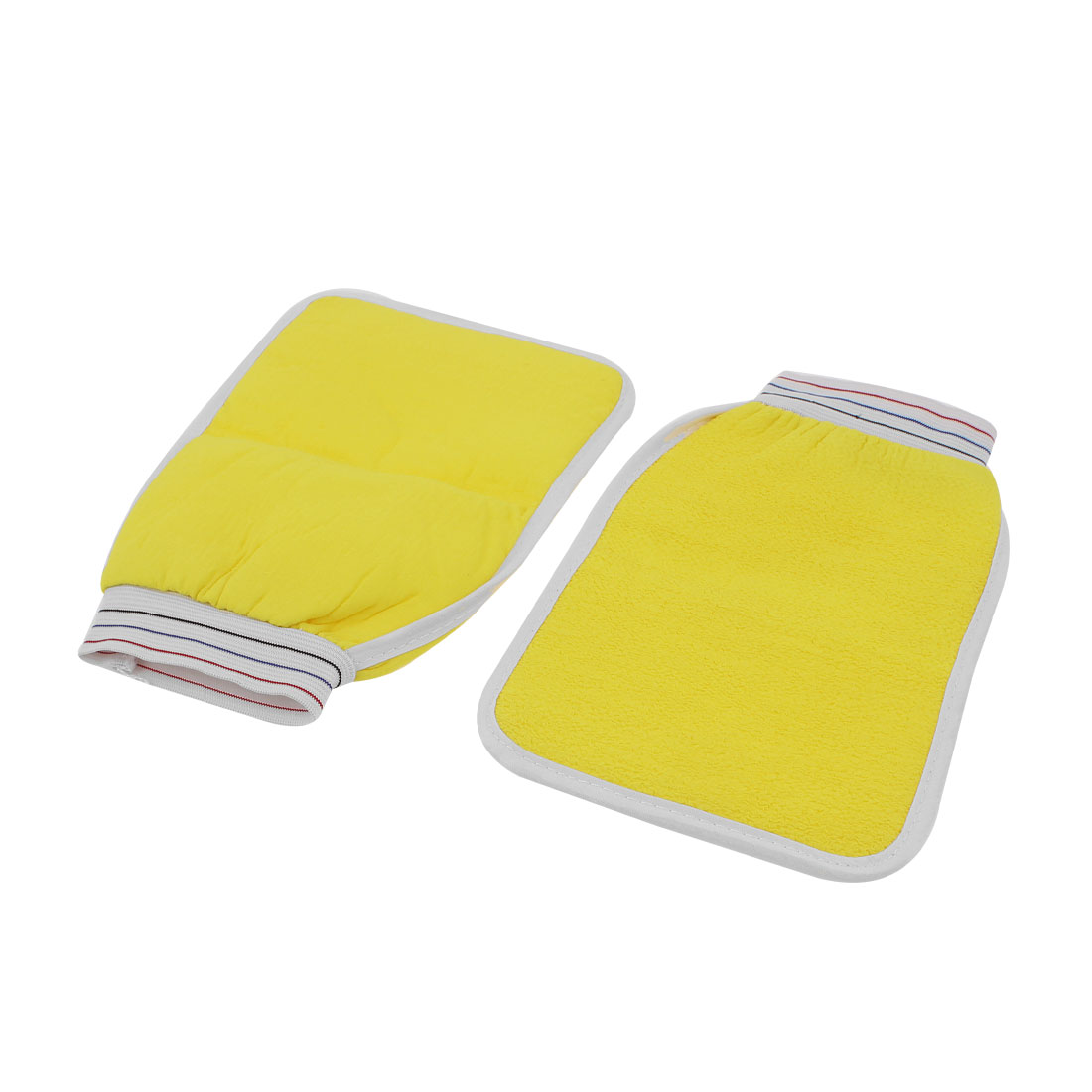Elastic Cuff Double Side Shower Bath Wash Massage Glove Scrubber Yellow 2pcs