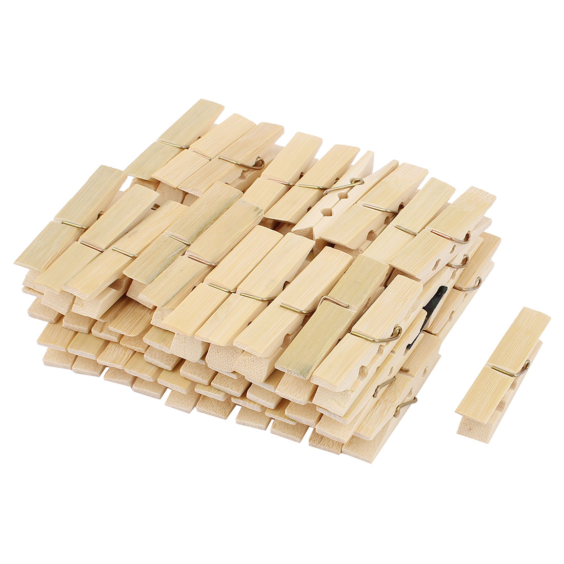 Laundry Spring Socks Clothes Hanging Pins Bamboo Pegs Clothespin Beige 60pcs