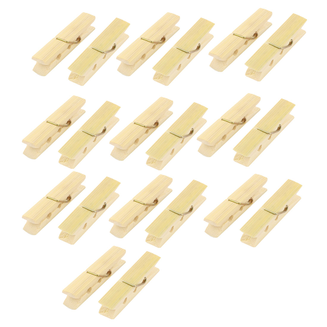 Laundry Spring Socks Clothes Hanging Pins Bamboo Pegs Clothespin Beige 20pcs