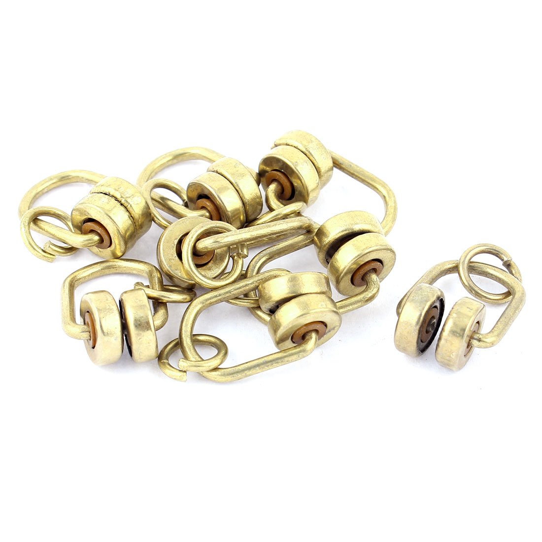 Bronze Tone Brass 11mm Dia Wheel Curtain Track Rail Runners Hanging Gliders 8pcs