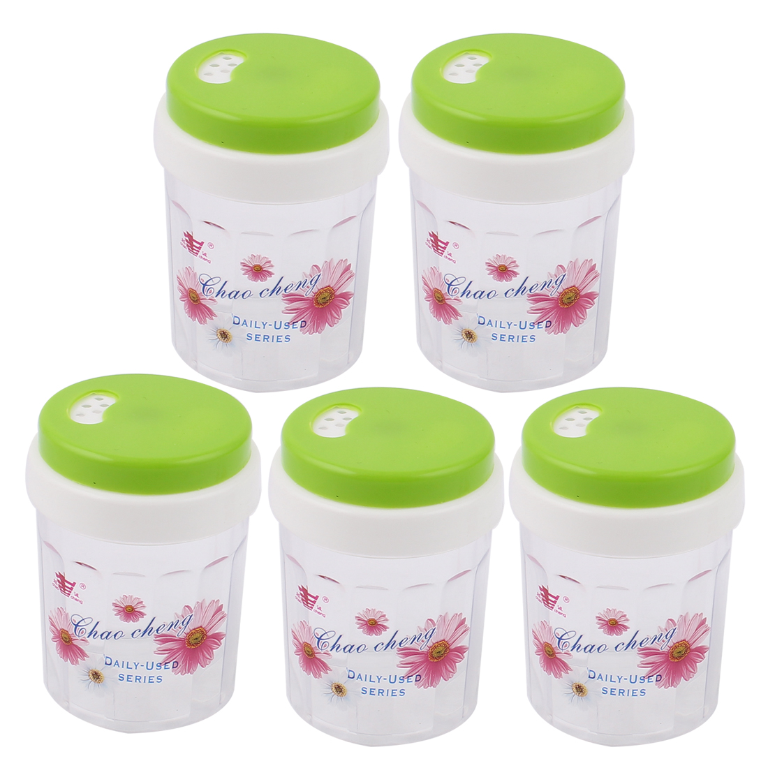 Plastic Spice Condiment Jar Toothpick Holder Container Dispenser Green 5pcs