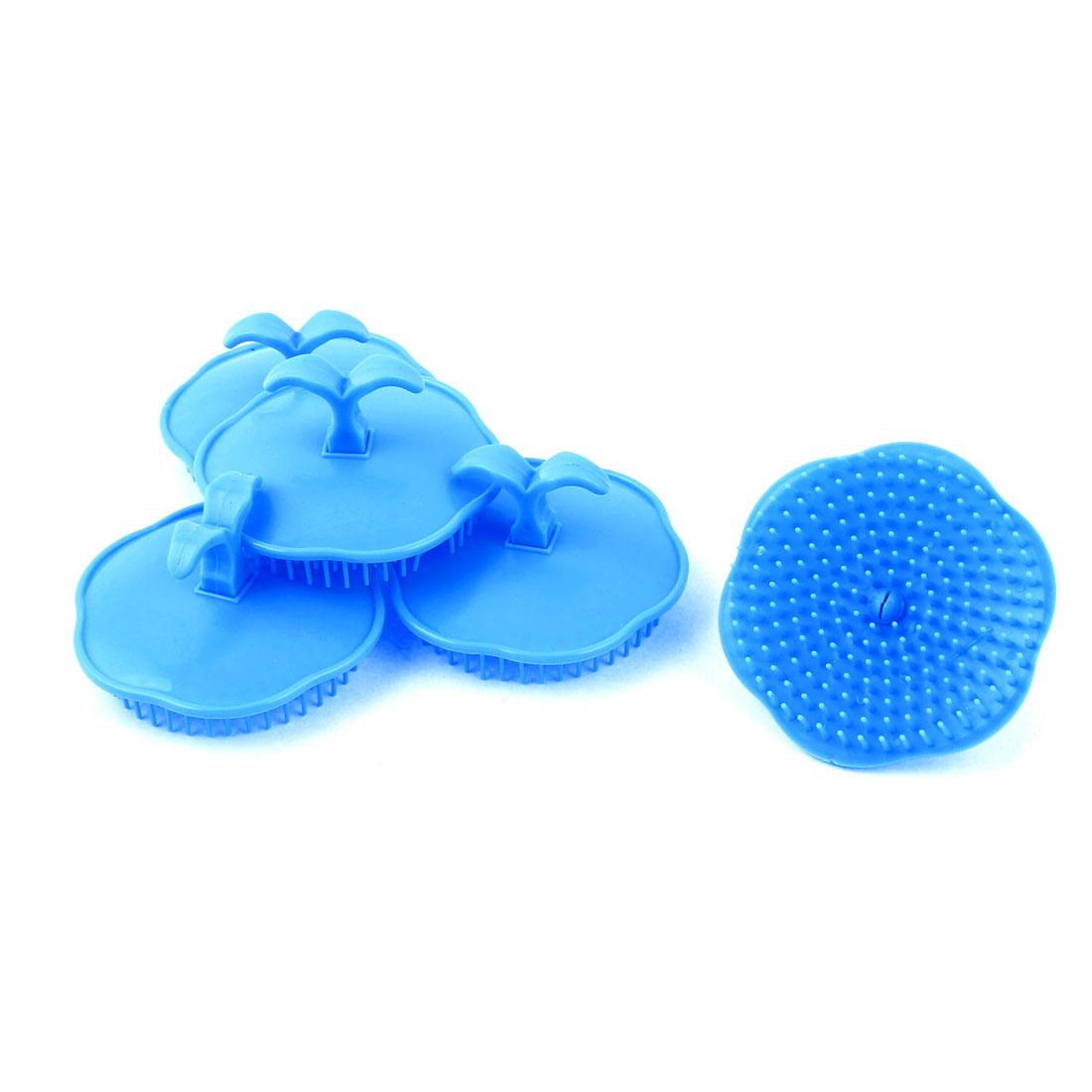 Hair Scalp Body Massage Comb Shampoo Brush Head Conditioner Blue 5pcs