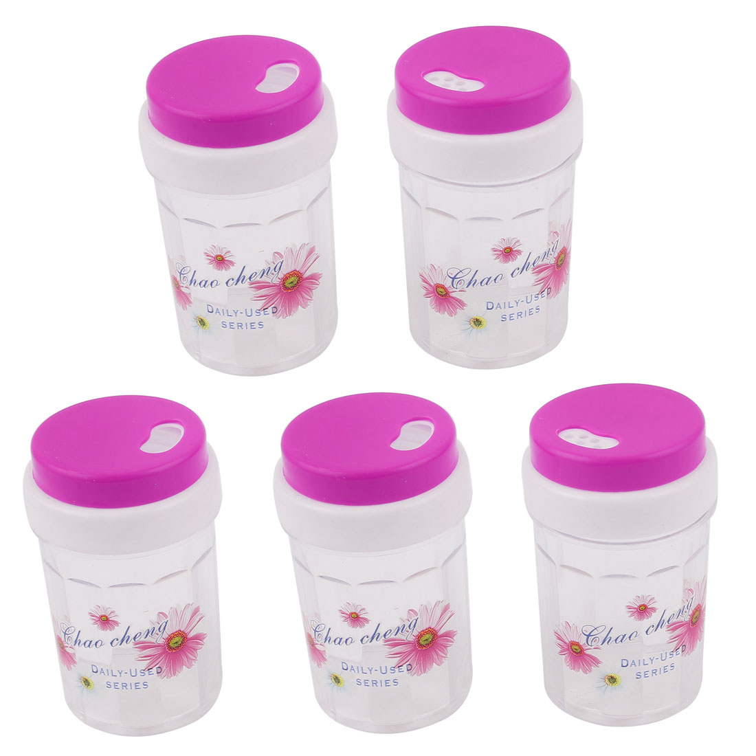 Fuchsia Plastic Spice Jar Toothpick Holder Container Dispenser 80 x 46mm 5pcs