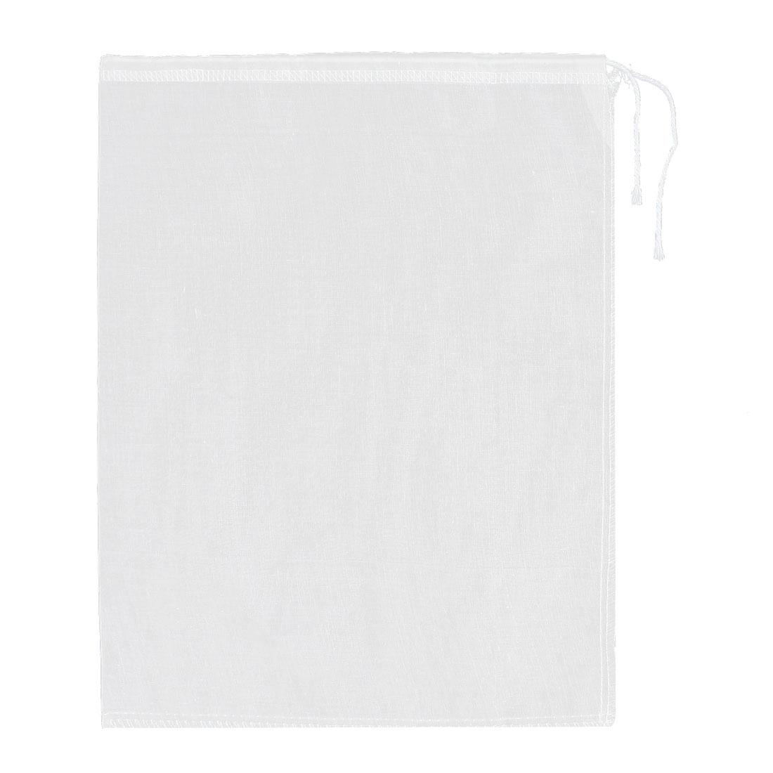 Cotton Drawstring Soup Draining Food Filter Mesh Bag 35.5cm x 28cm