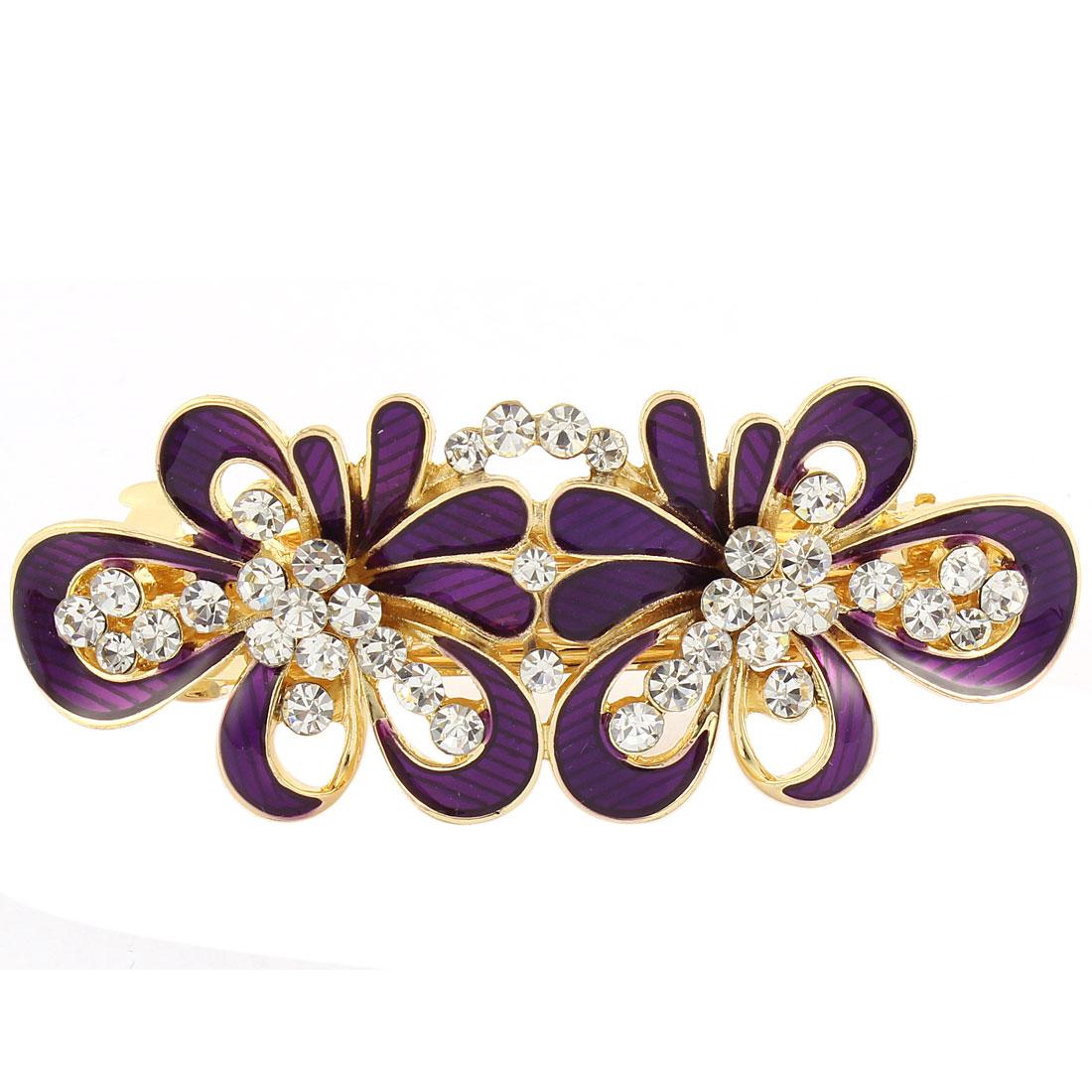 Women Floral Shape Rhinestone Detail Spring Loaded Hair Barrette Clip Purple