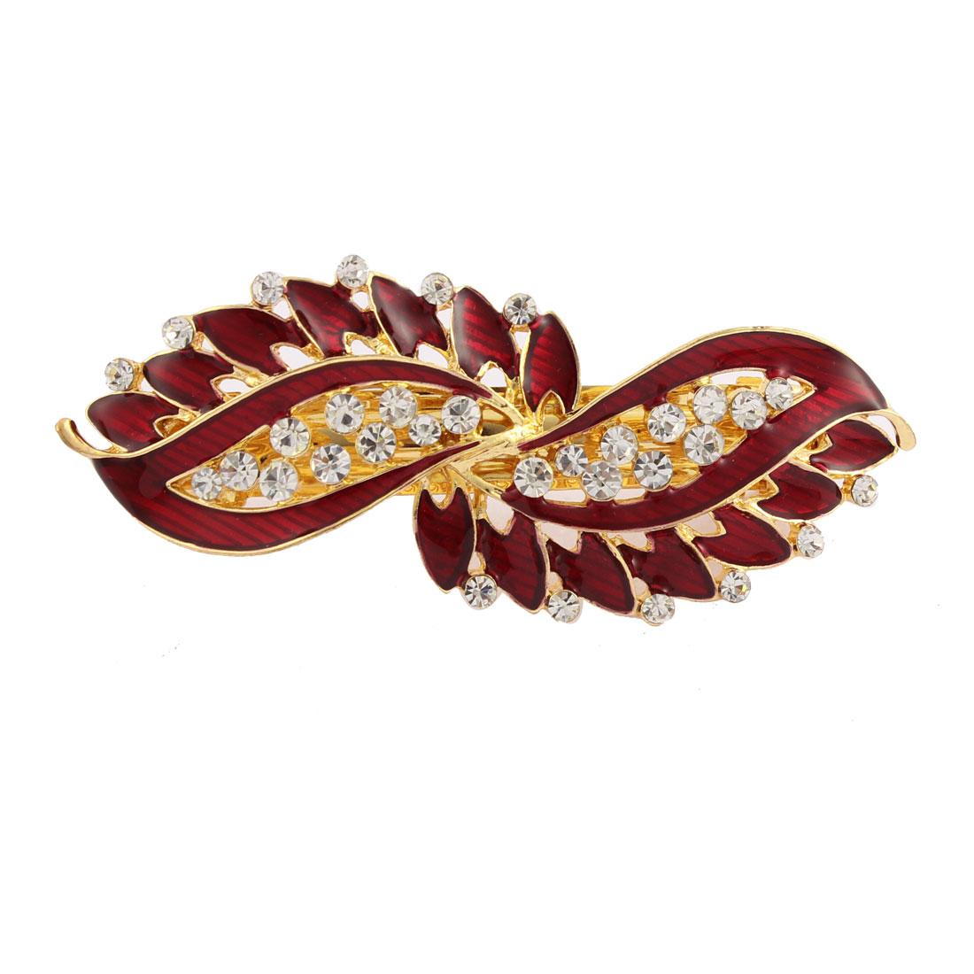 Lady Rhinestone Inlaid Leaf Style Spring Loaded Hair Barrette Clip