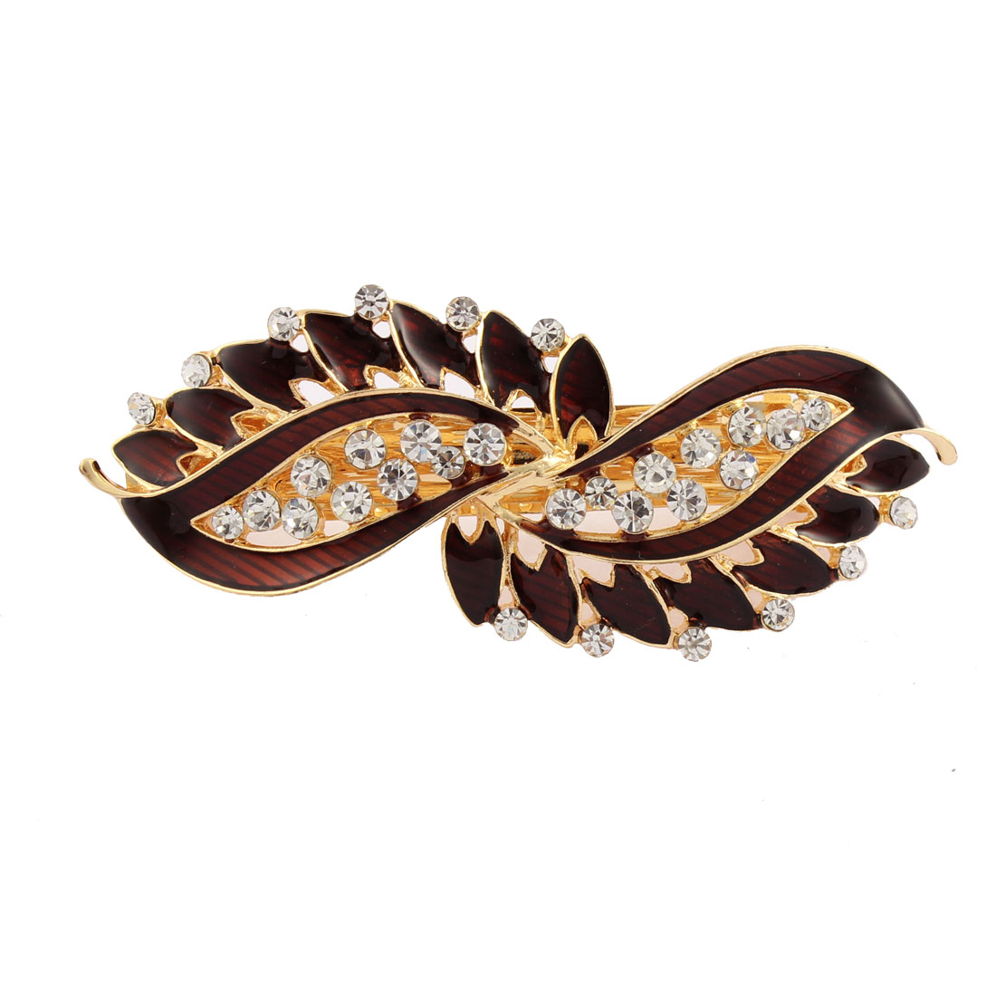 Lady Rhinestone Inlaid Leaf Style Spring Loaded Hair Barrette Clip Dark Red