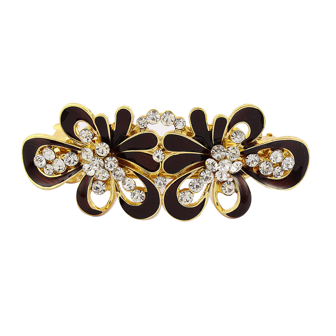 Women Rhinestone Detail Floral Shape Spring Loaded Hair Barrette Clip Dark Red