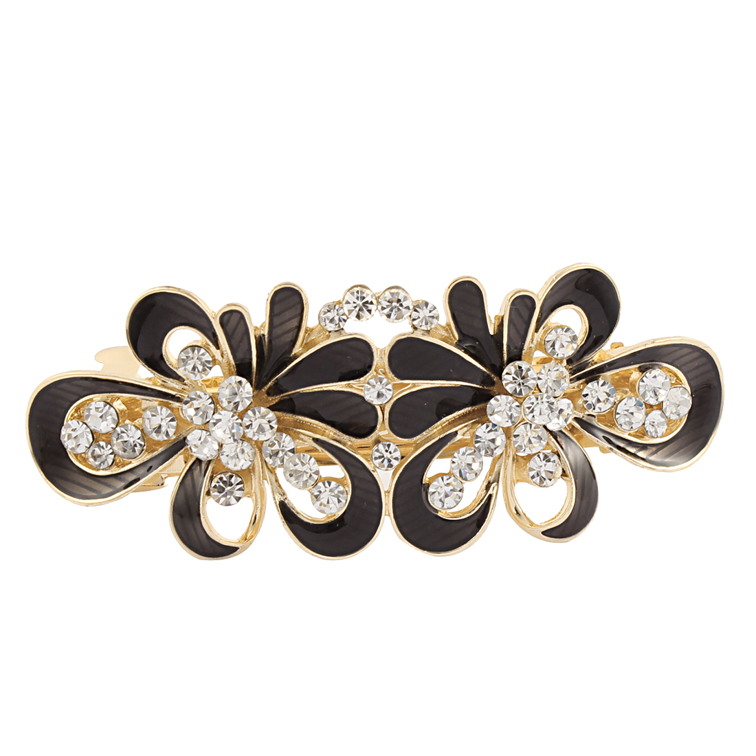 Women Rhinestone Detail Floral Shape Spring Loaded Hair Barrette Clip Black
