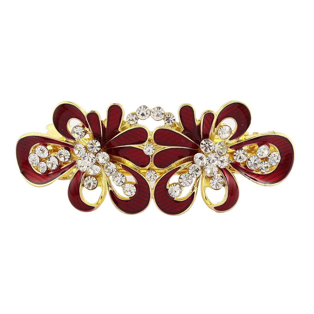 Women Rhinestone Detail Floral Shape Spring Loaded Hair Barrette Clip Red
