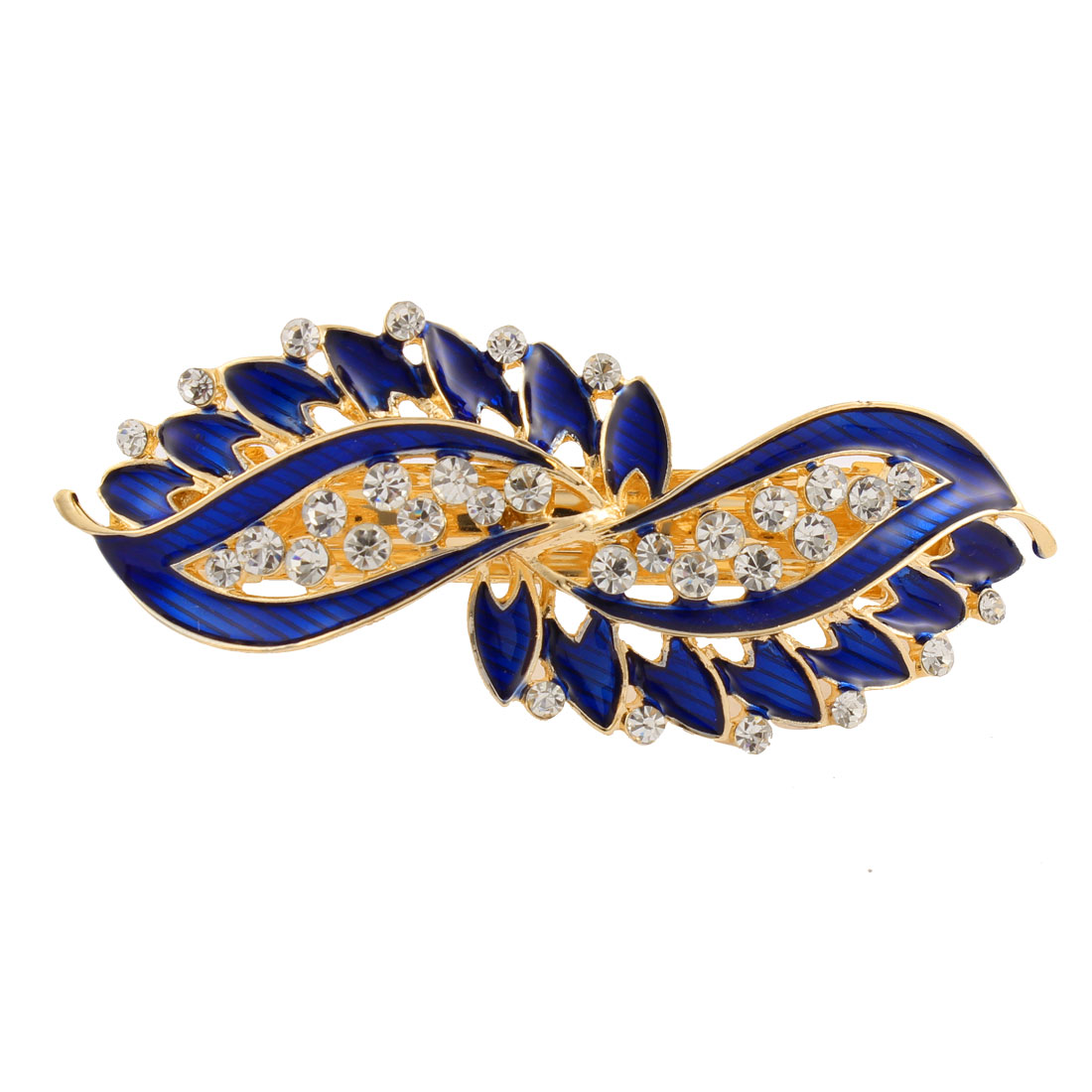 Lady Rhinestone Inlaid Leaf Style Spring Loaded Hair Barrette Clip Blue