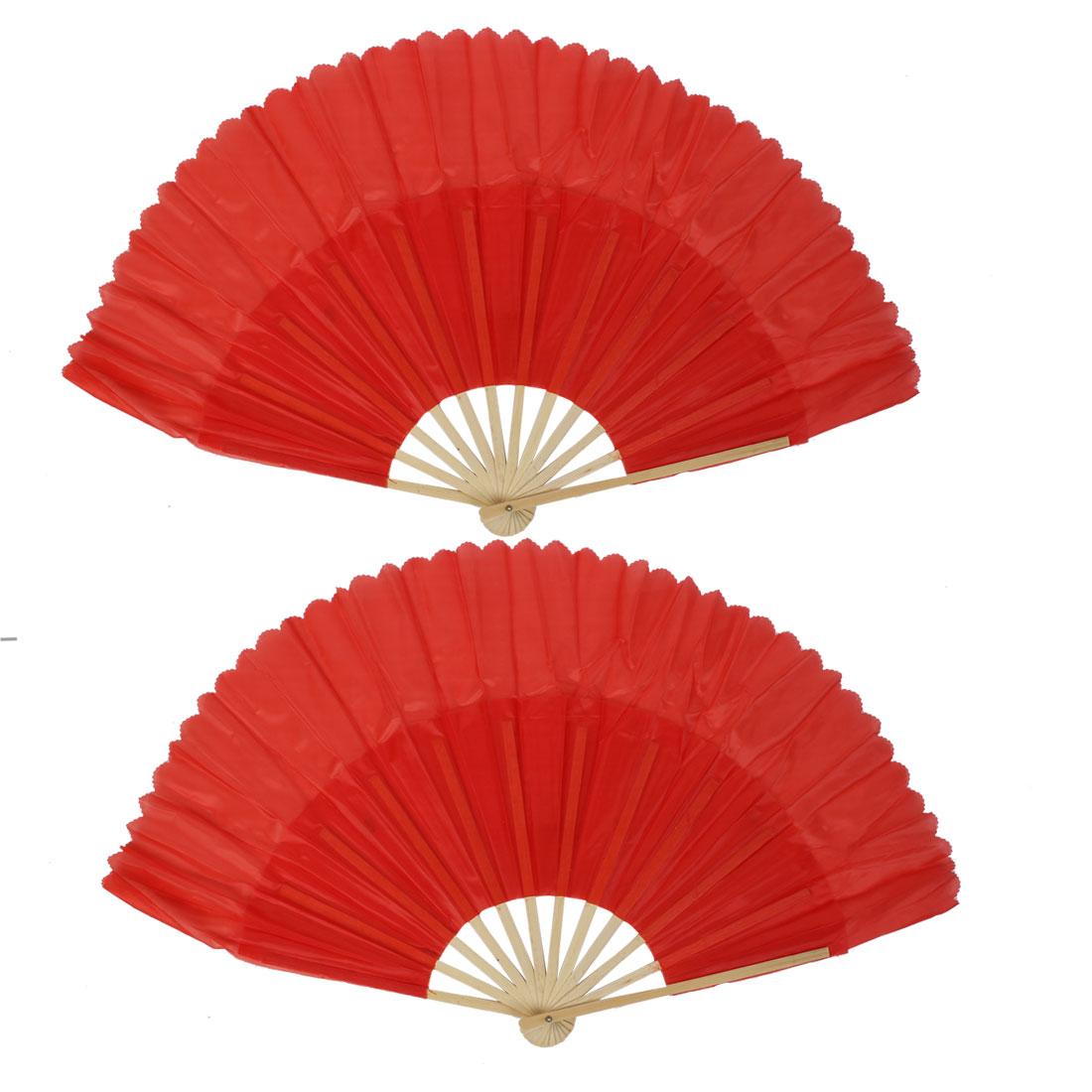 2pcs Bamboo Fabric Wedding Party Folding Dancing Hand Fan Red