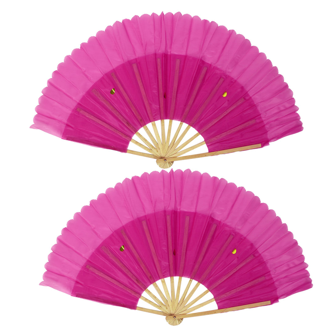 2pcs Chinese Japanese Style Handheld Folding Dancing Fan Fuchsia